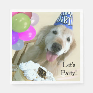 Golden Retriever With Cake and Balloons Birthday Disposable Napkins