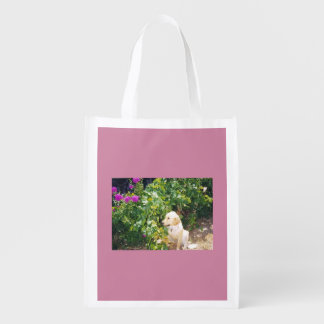 Golden Retriever with flowers Grocery Bags