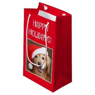 Golden Retriever With Red Santa Hat Small Gift Bag