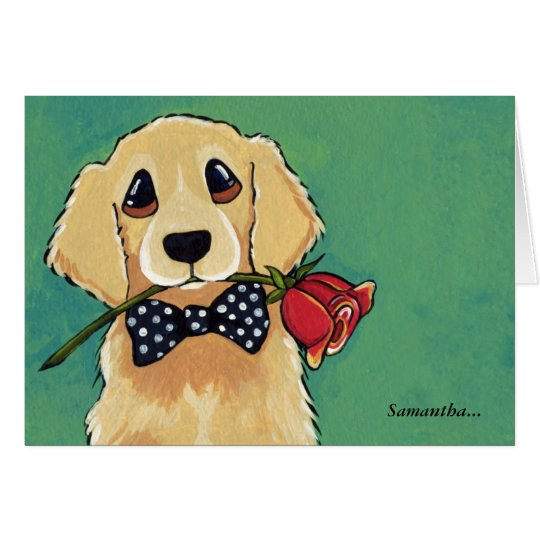 Golden Retriever with Rose | Thank You Card