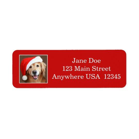 Golden Retriever With Santa Hat Return Address Label