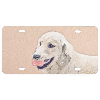 Golden Retriever with Tennis Ball Painting Dog Art License Plate