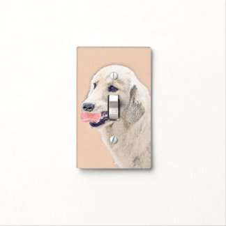 Golden Retriever with Tennis Ball Painting Dog Art Light Switch Cover