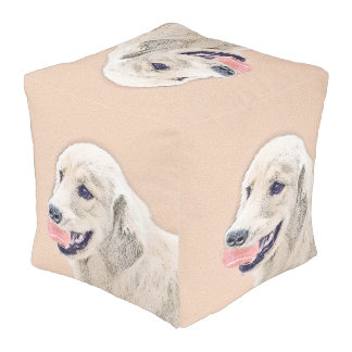 Golden Retriever with Tennis Ball Painting Dog Art Pouf