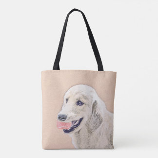 Golden Retriever with Tennis Ball Painting Dog Art Tote Bag
