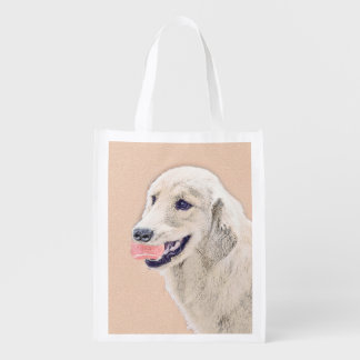 Golden Retriever with Tennis Ball Reusable Grocery Bag