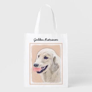 Golden Retriever with Tennis Ball Reusable Grocery Bag