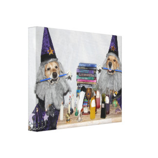 Golden Retriever Wizard's Workshop Canvas Print