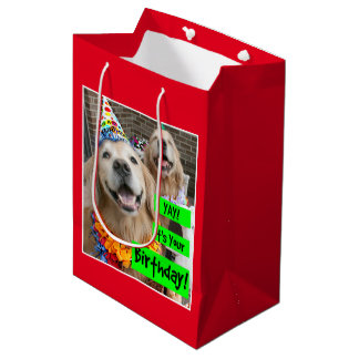Golden Retriever Yay Its Your Birthday Medium Gift Bag
