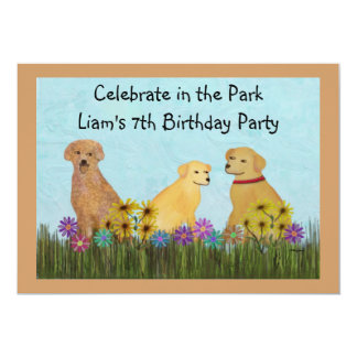 Golden Retrievers Birthday Party Invitations