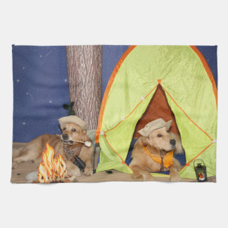 Golden Retrievers Camping Kitchen Towels