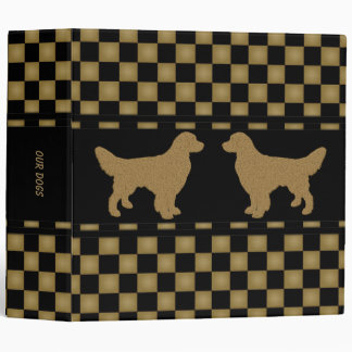 Golden Retrievers Checkered Personalized 3 Ring Binders