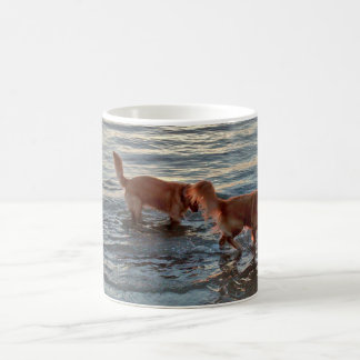 Golden Retrievers in the Sunset Sea Coffee Mug