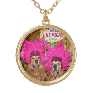 Golden Retrievers Las Vegas Feathered Showgirls Gold Plated Necklace