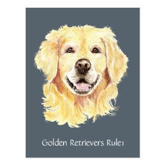Golden Retriever's Rule Watercolor Dog Pet Animal Postcard