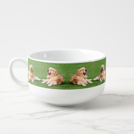 Golden retrievers soup bowl with handle