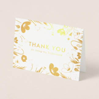 Golden Retro Poppies  Bridesmaid Thank You Foil Card