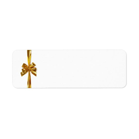 Golden Ribbon With Bow On White Background Return Address Label