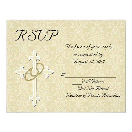 "Golden Rings Christian Wedding RSVP Card 4.25"" X 5.5"" Invitation Card"