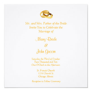 Golden Rings Wedding Invitations