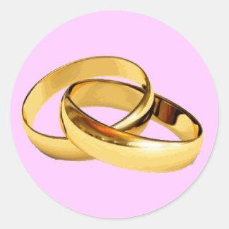 Golden Rings  Wedding Invitations Envelope Seals Round Sticker