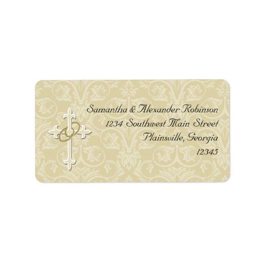 Golden Rings with Cross, Elegant Christian Love Label