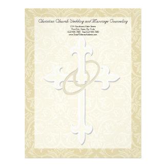 Golden Rings with Cross, Elegant Christian Love Letterhead