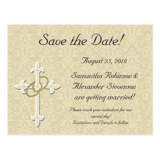 Golden Rings with Cross, Elegant Christian Love Postcard