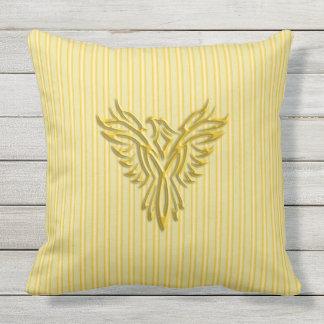 Golden rising phoenix with golden bands throw pillow