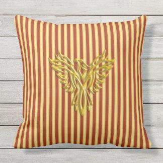 Golden rising phoenix with golden scarlet bands outdoor pillow