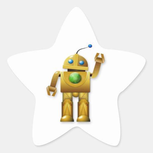 Golden Robot Waving Stickers