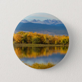 Golden Rocky Mountain Front Range View 2 Inch Round Button