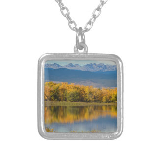Golden Rocky Mountain Front Range View Silver Plated Necklace