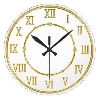 Golden Roman Numeral Kitchen Wall Clocks