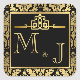 Golden Romance Art Deco Envelope Seal Square Sticker