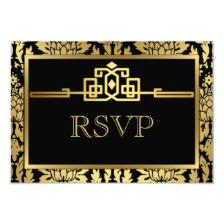 Golden Romance Art Deco RSVP Card V2