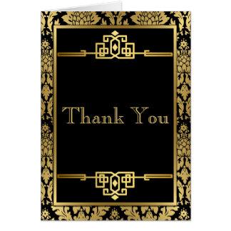 Golden RomanceArt DecoThank You Note Card