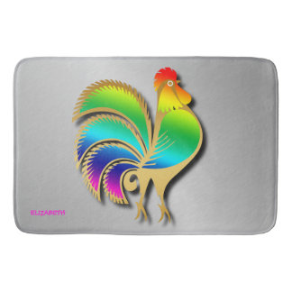 Golden Rooster Bird With Rainbow Feathers And Tail Bath Mat
