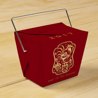 Golden Rooster Year 2017 Red Favor Box