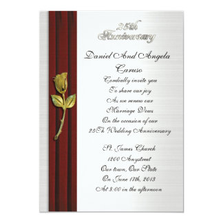 """Golden rose, 25th Anniversary vow renewal 5"""" X 7"""" Invitation Card"""