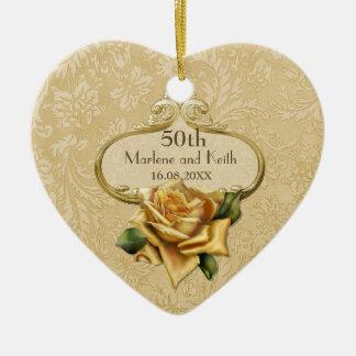 Golden Rose 50th Wedding Anniversary Christmas Tree Ornaments