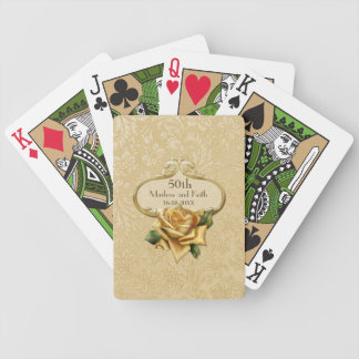 Golden Rose Damask 50th Wedding A Bicycle Playing Cards