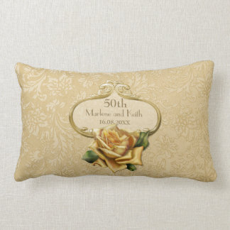 Golden Rose Damask 50th Wedding Anniversary Pillow
