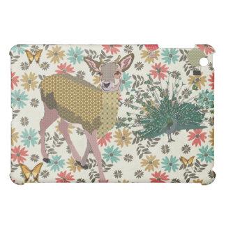 Golden Rose Deer Peacock Floral iPad Mini Cover