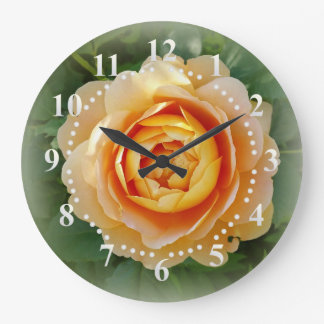 Golden rose large clock