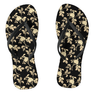 Golden Rose on Black Shower Shoes FlipFlops
