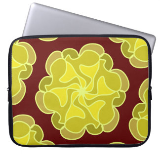 Golden rose on deep red laptop sleeve