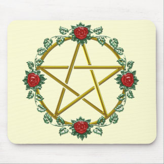 Golden Rose Pagan Pentacle Pentagram Mousepad