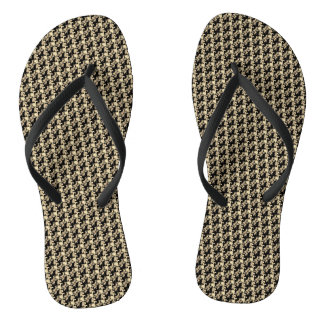 Golden Rose Pattern Black Shower Shoes FlipFlops