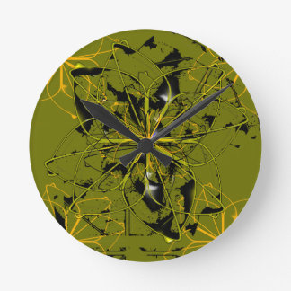 Golden Rose Petals Abstract Blots Round Clock